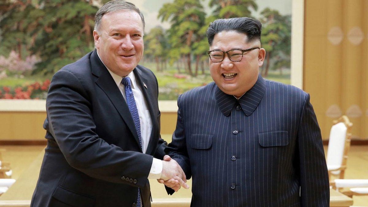 US Secretary of State Mike Pompeo with North Korean leader Kim Jong-un in Pyongyang, North Korea. Photo: AP