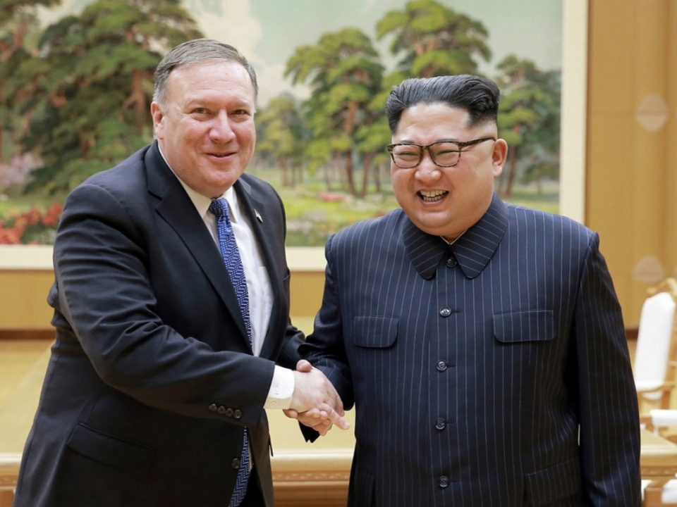US Secretary of State Mike Pompeo with North Korean leader Kim Jong-un in Pyongyang, North Korea. Photo: AP