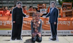 Demonstrators rally in Seoul to call for more dialogue between North Korea, South Korea and the United States. Photo: AFP