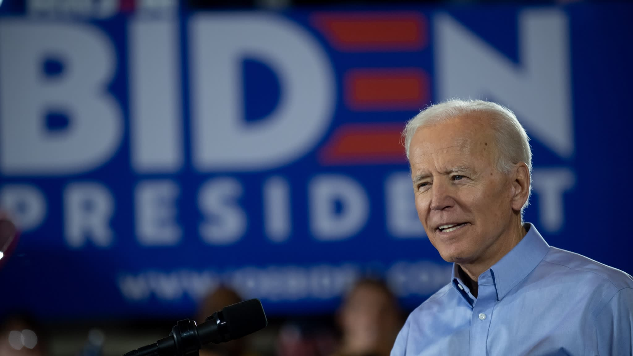 The current Democratic front-runner, former Vice President Joe Biden never mentioned free trade or TPP at his first recent campaign rally in Pittsburgh. © Getty Images